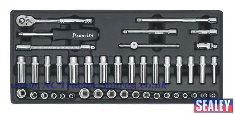 "Tool Tray with Socket Set 43pc 1/4""Sq Drive"